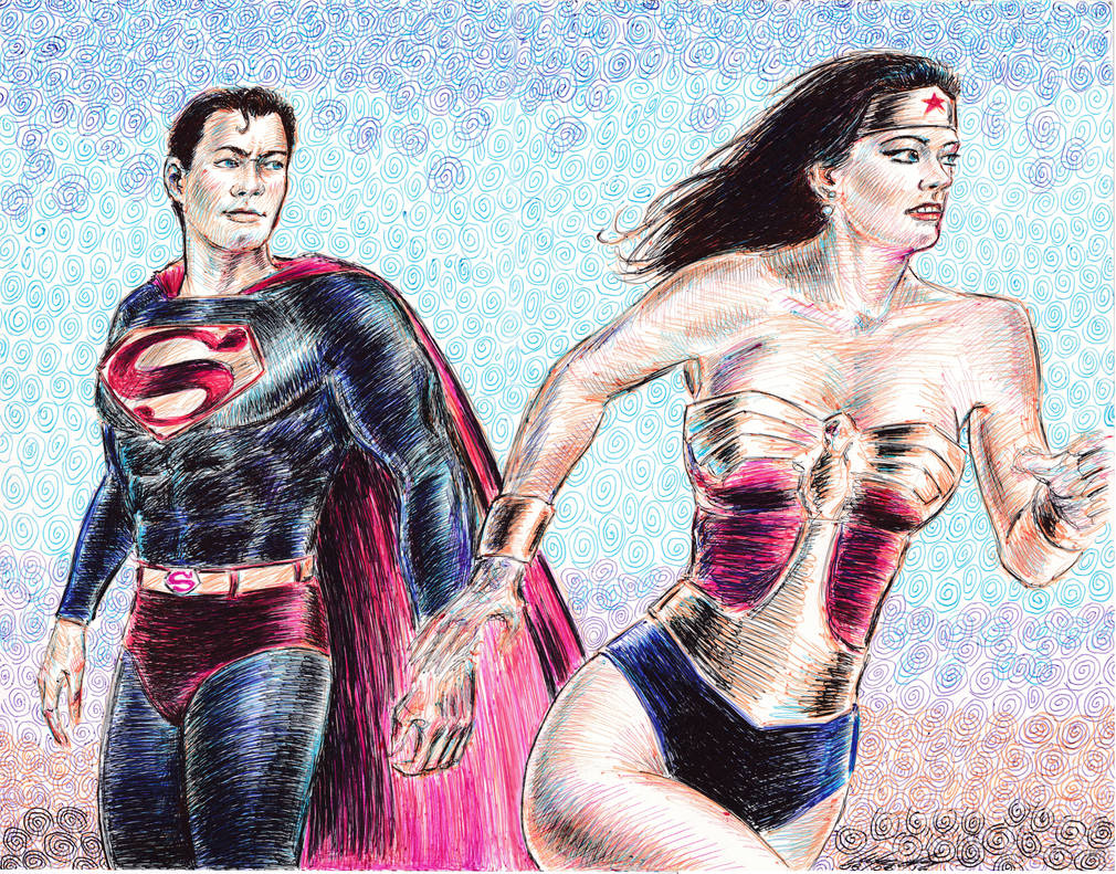 Wonder Woman and Superman reacting