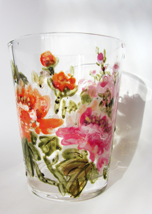 Glass with peonies1 by zlatvic