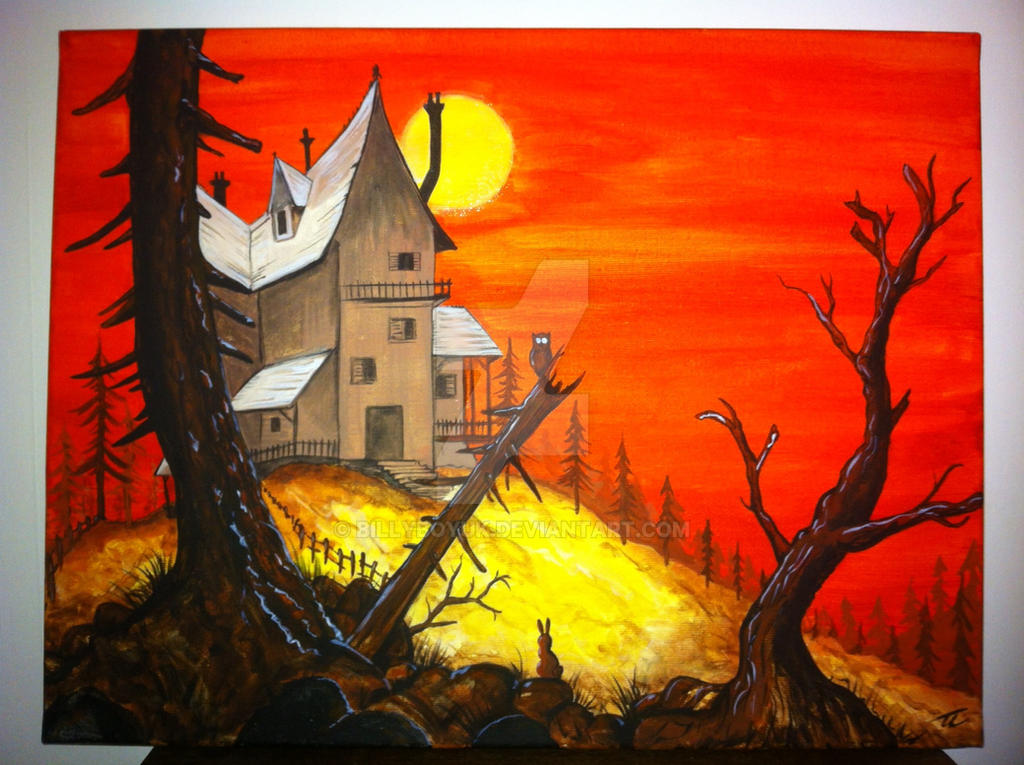 Acrylic on canvas painting haunted house sunset by for How to make a canvas for acrylic painting