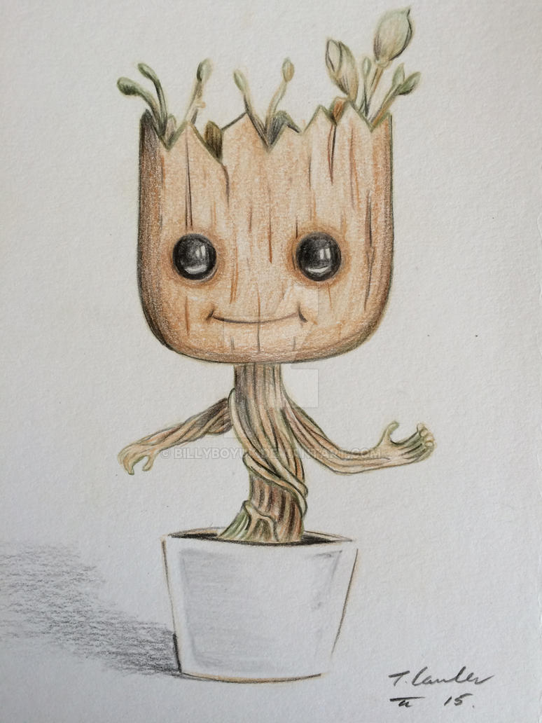 Dancing baby Groot colour pencil drawing by billyboyuk on ...