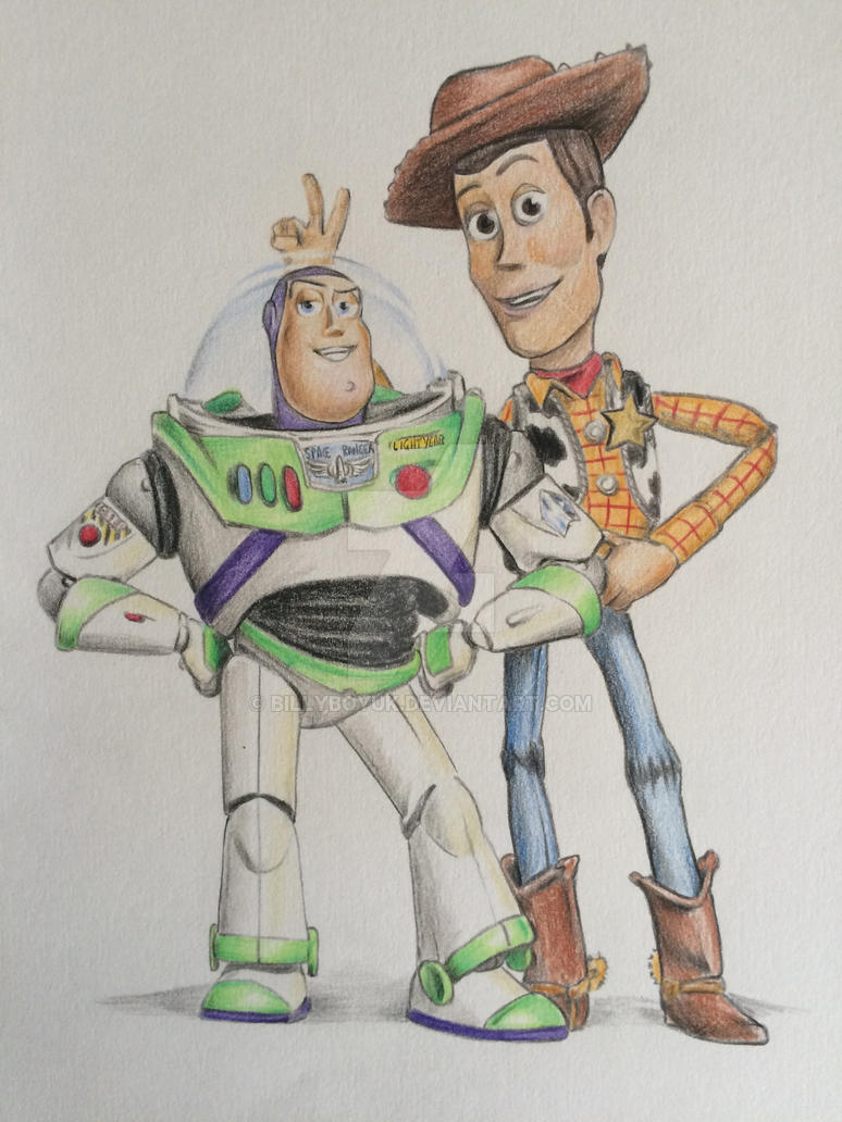 woody and buzz toy story drawing by billyboyuk on deviantart