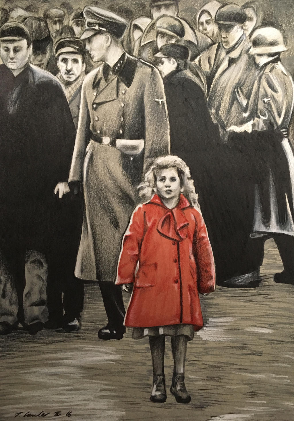 Schindlers List girl in the red coat drawing by billyboyuk on ...