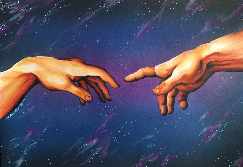 Creation of Adam Sistine chapel Michelangelo hand by billyboyuk