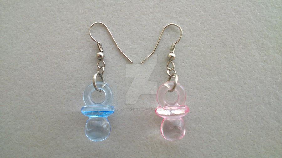 Pink+Blue Pacifier earrings by Sasha-Raskolnikova