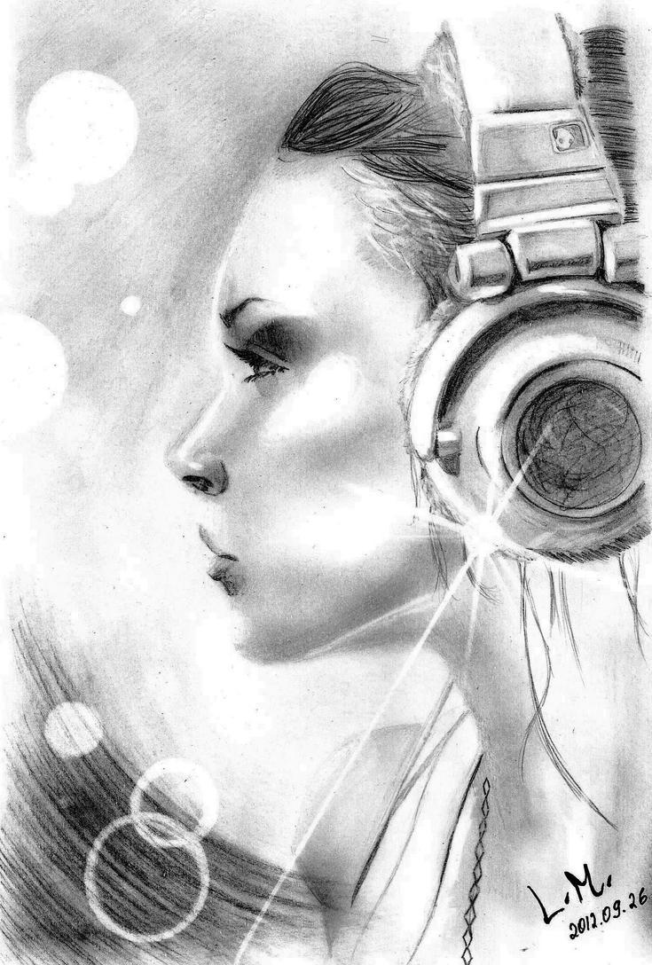 Girl with headphones by LaurenMi on DeviantArt