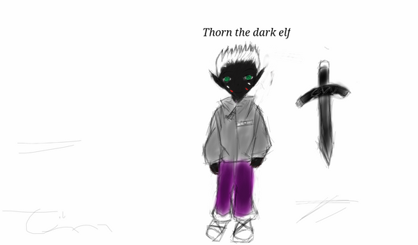 Thorn the drow of green eyes.