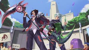 Battle Academia Kayn and Akali skin concept fanart