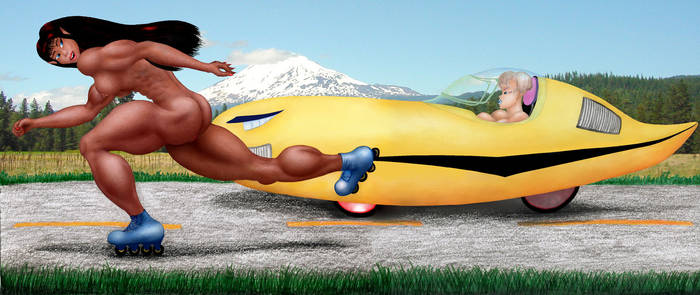 Shiori racing velomobile color by MuscleWomen-Planet