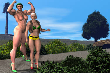 Joy and Mom Yellow hotpants by MuscleWomen-Planet