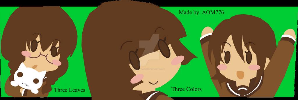 Three Leaves, Three Colors Chibi Vector by minishcaplink