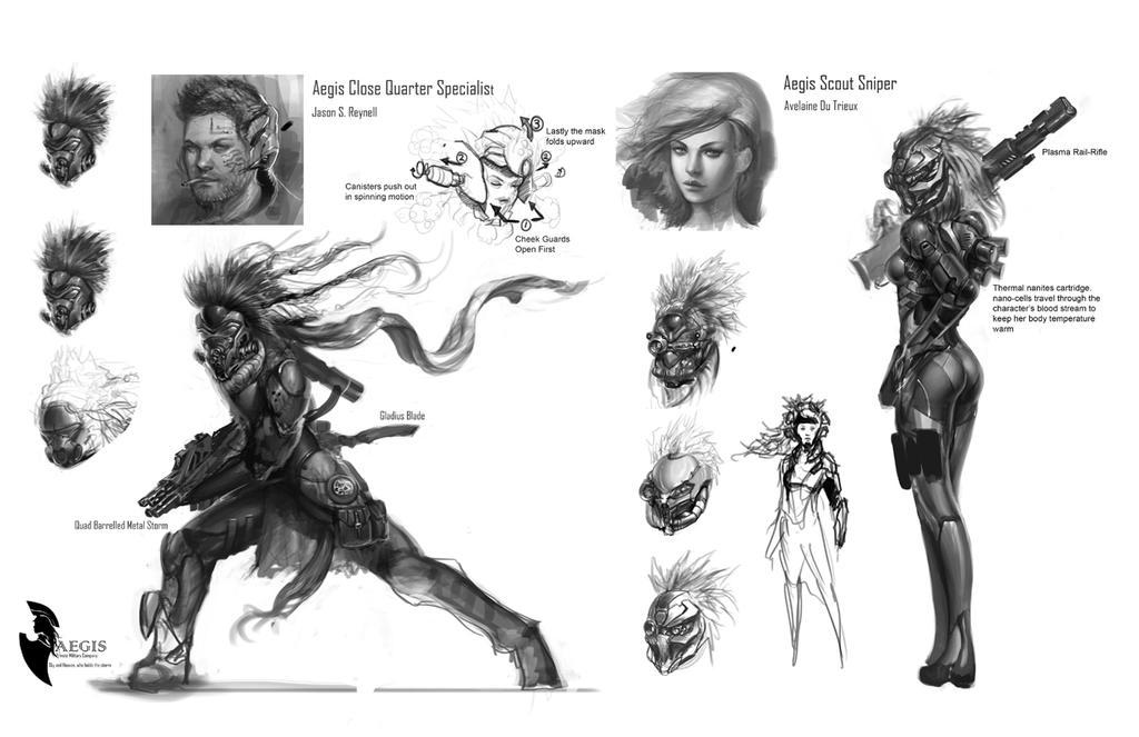 Mercenary concepts by ZeroNis