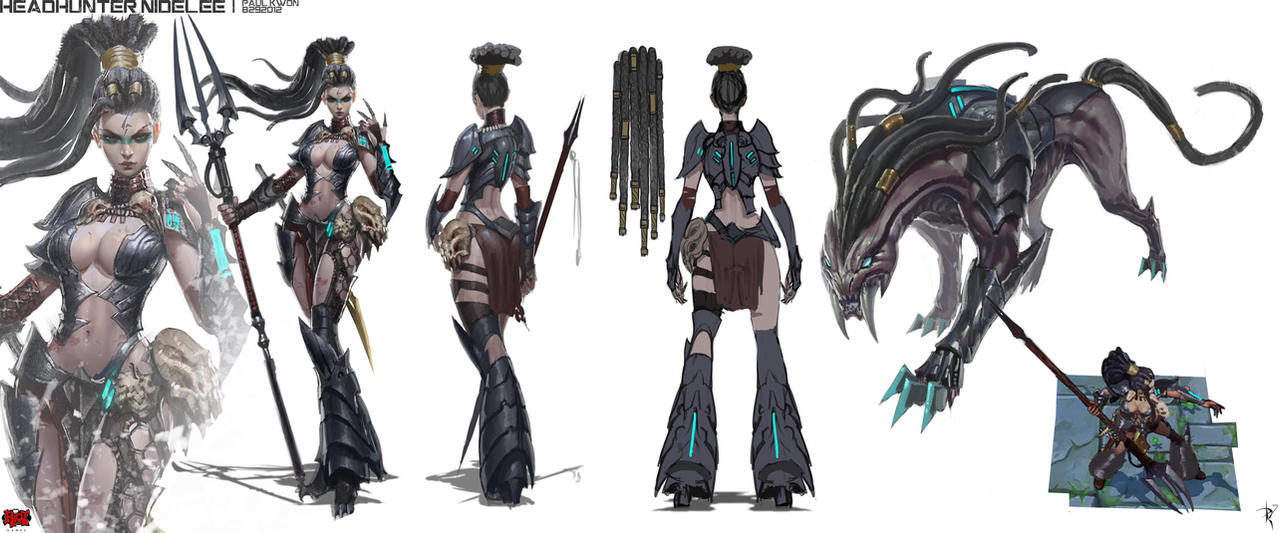 Character Design League Of Legends : Headhunter nidalee riotzeronis by zeronis on deviantart