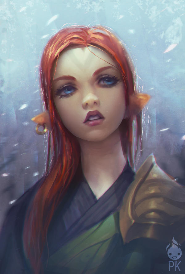 Red Hair Elf by ZeroNis