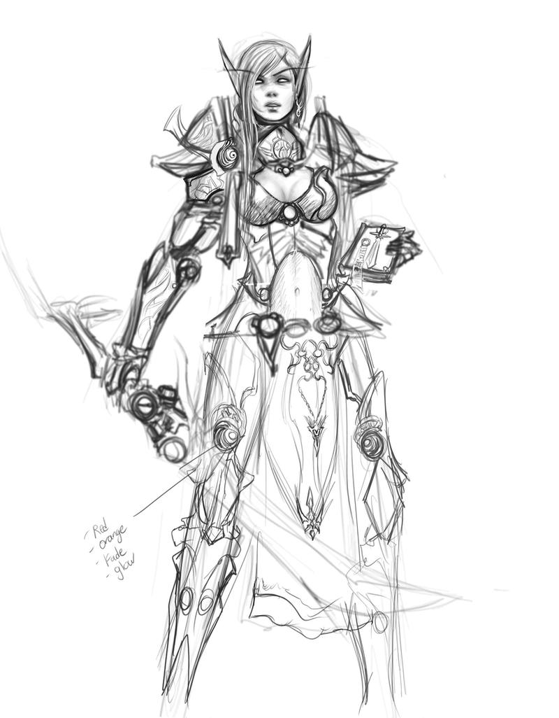 Blood Elf Paladin RoughSketch by Zeronis