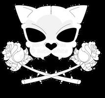 Cat Skull and Crossed Roses Tattoo