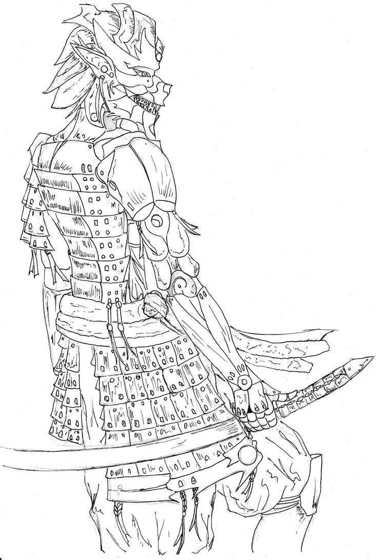 Japanese Samurai Mask Drawing
