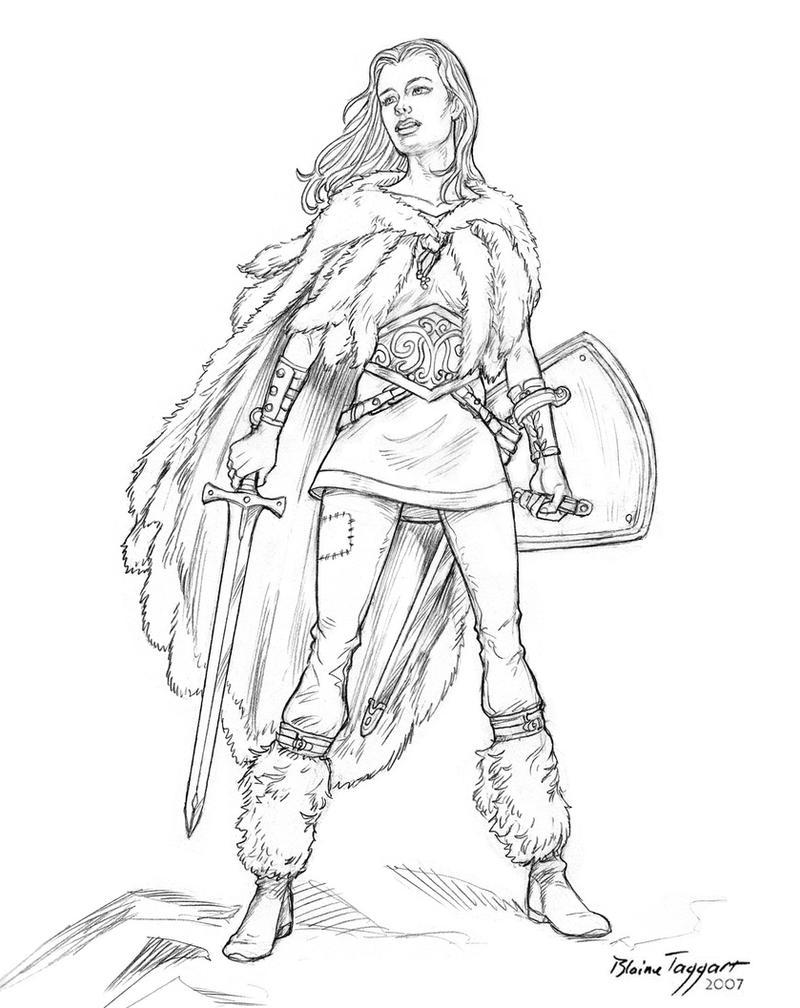 Anime Warrior Girl Drawings