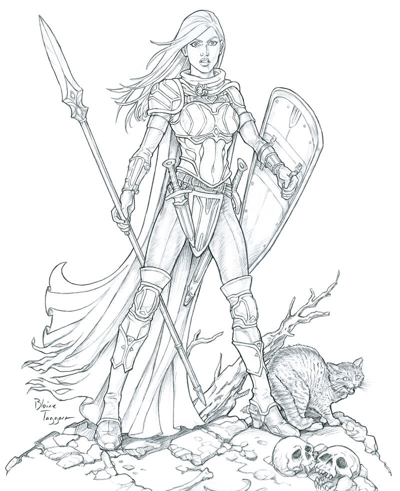 Line Drawing Female : Female paladin by staino on deviantart