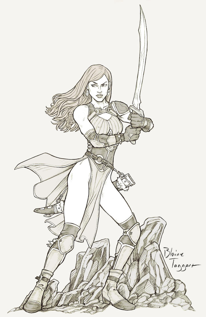 Barbarian Girl with Scimitar by staino