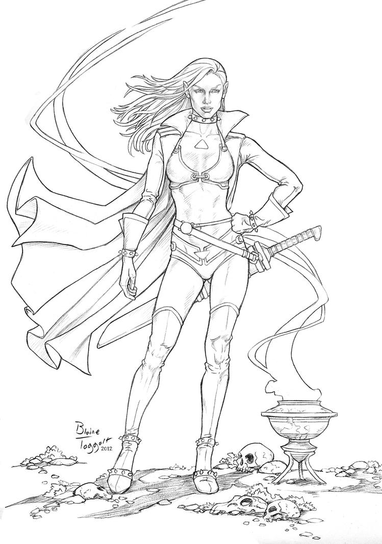 Line Drawing Of Woman : Dark elf line drawing by staino on deviantart