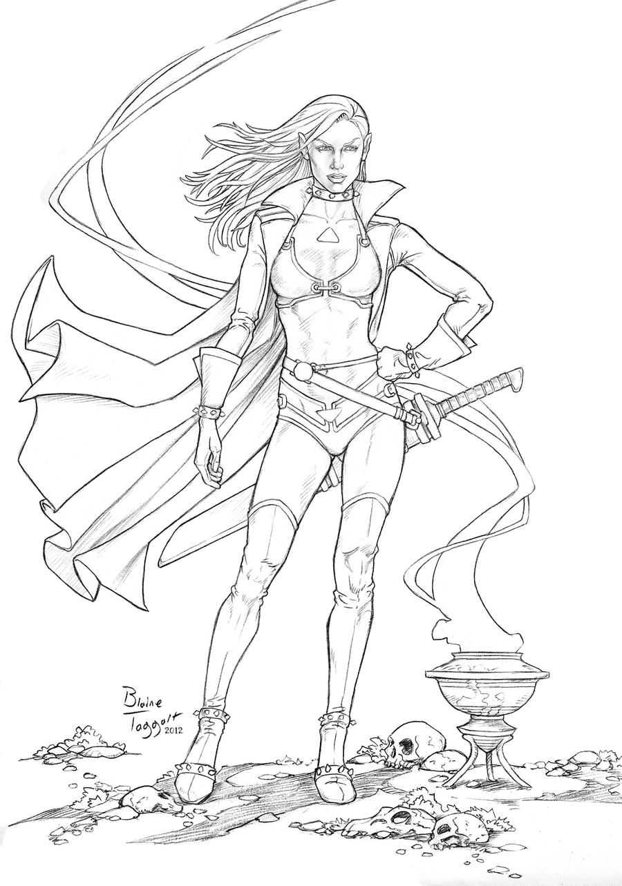 Line Drawing Female : Dark elf line drawing by staino on deviantart