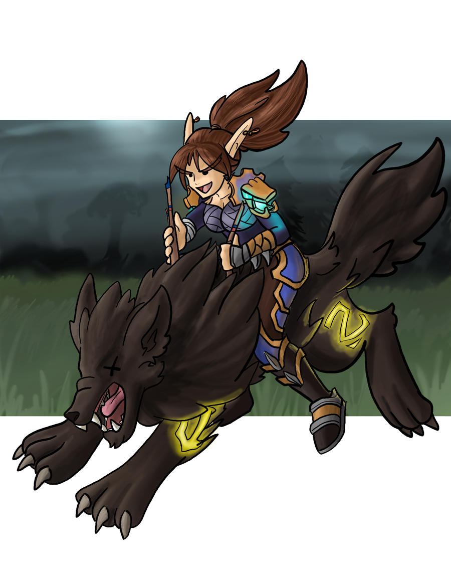 [Commission] Huntress riding Fenryr by faeore