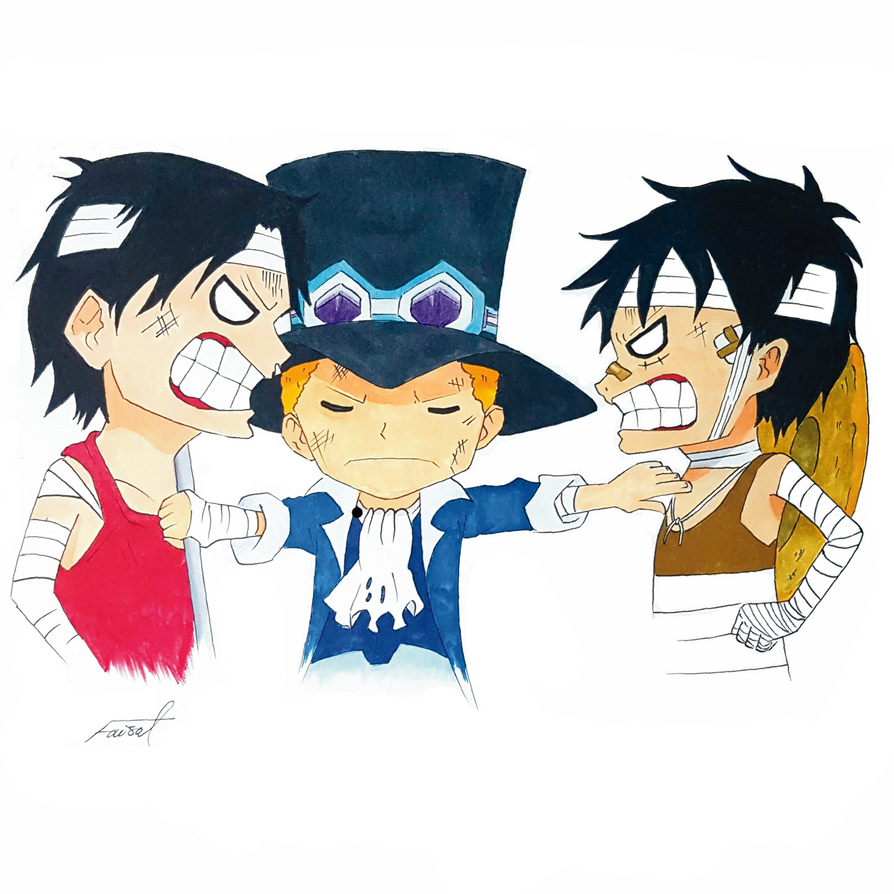 One piece - Luffy, Sabo, and Ace by fizz1173