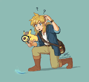 Detective Pikachu and Link by BettyKwong