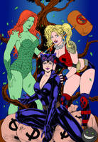 Catwoman Harley Quinn And Poison Ivy By Leomatos20 by SickSean