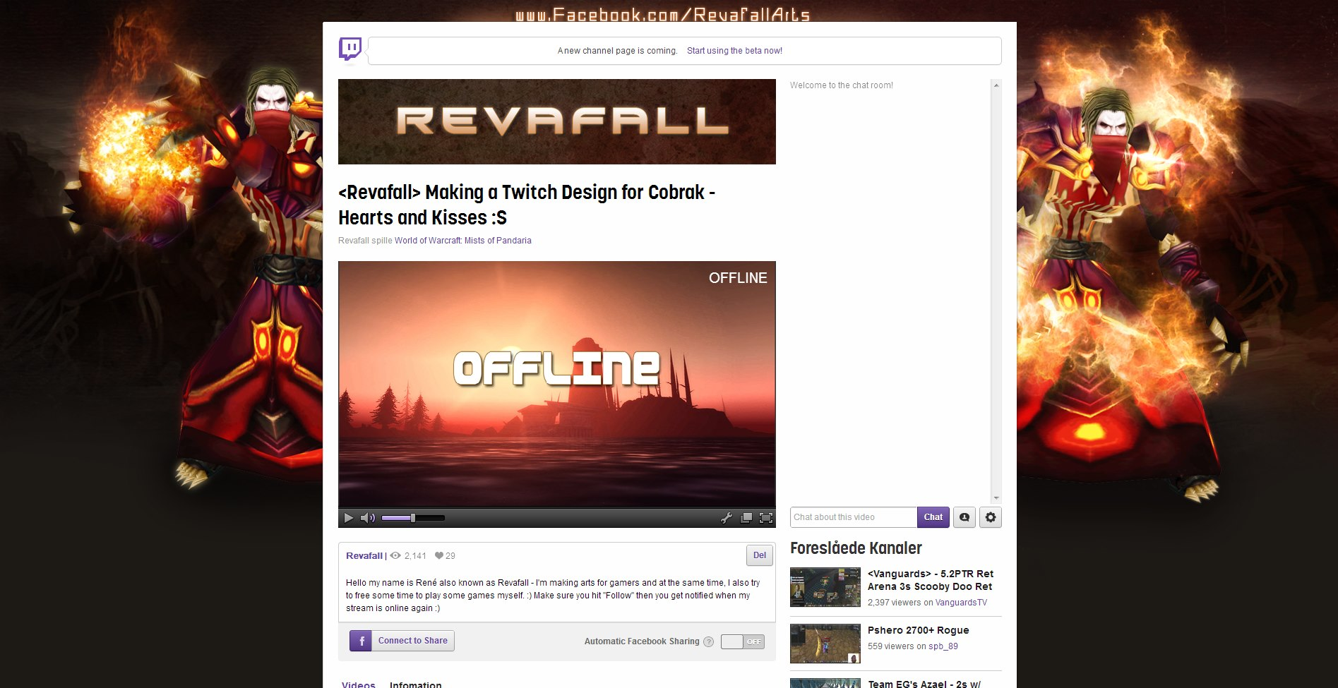 Revafall Twitch tv Design/Layout 2013 by RevafallArts on DeviantArt