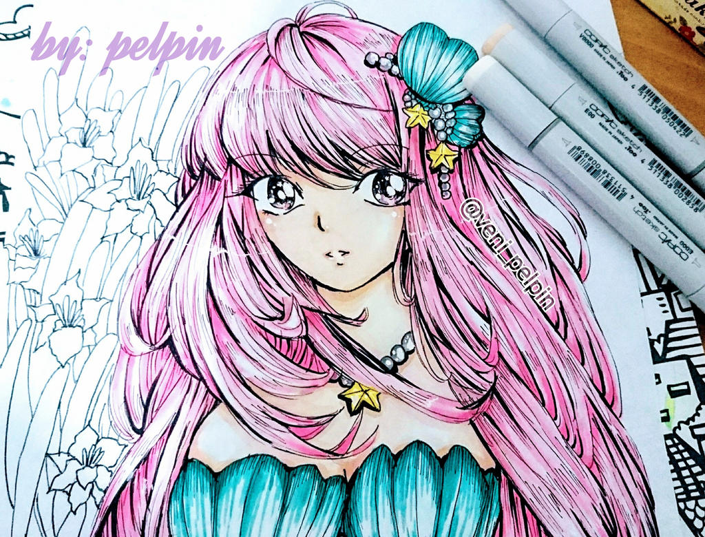 mermaid face  by pelpin