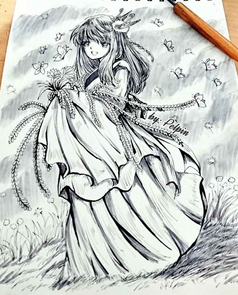sketch girl by pelpin