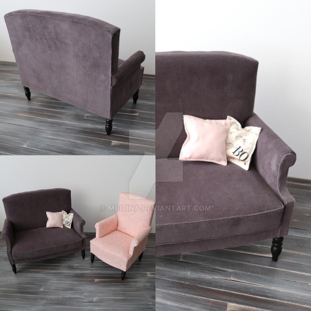 Sofa in dark grey corduroy by meitina on deviantart for Grey corduroy sofa