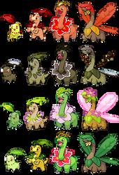 Chikorita's evolution chain.