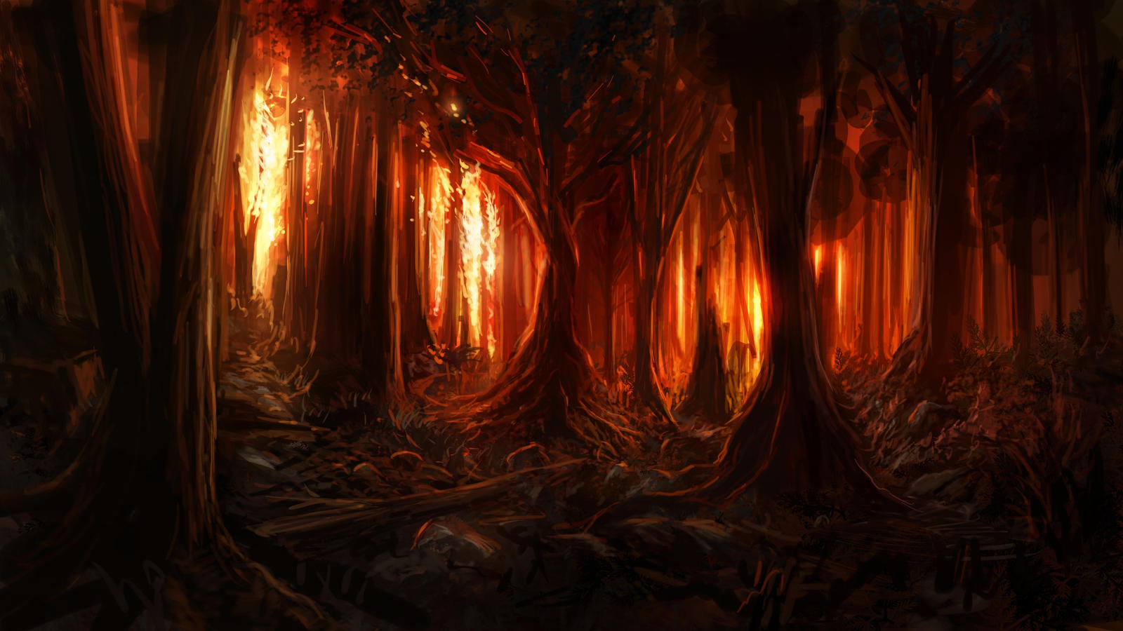 Burning Woods by Alexvanderlinde