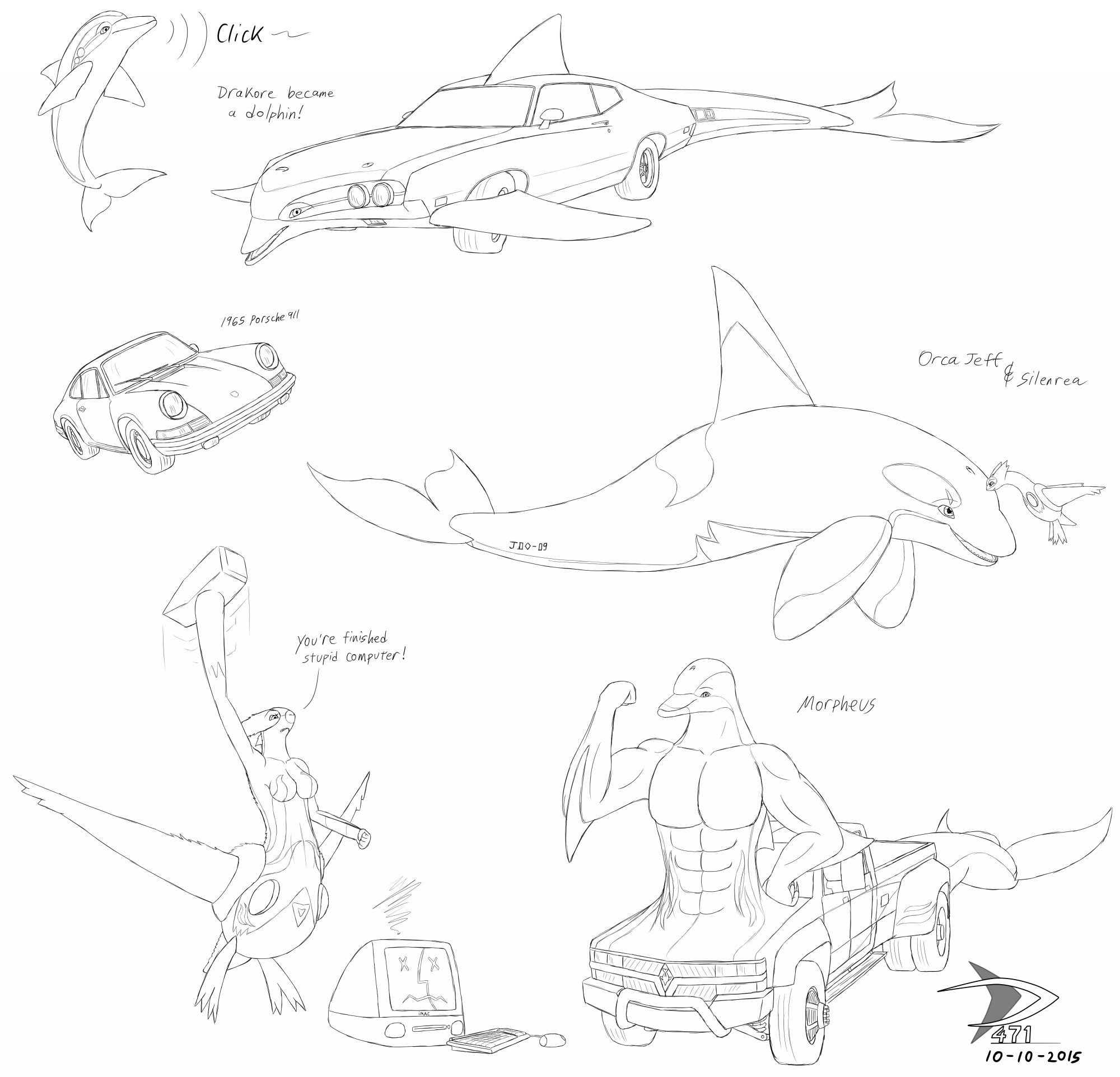mostly phins and cars sketchdump by sabre471 on deviantart