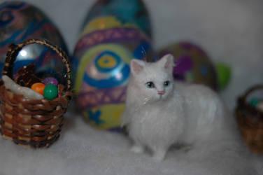 Dollhouse OOAK miniature white persian cat by carine-cote