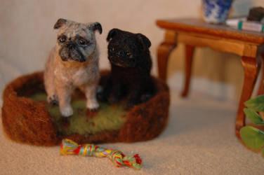 1/12 scale miniature felted pug dog portraits by carine-cote