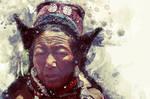 Faces of Ladakh. Digital watercolor, mix art