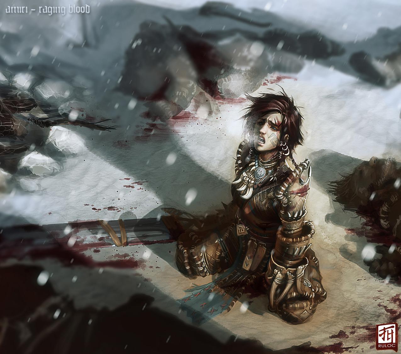 Pathfinder Amiri - Raging Blood by Ruloc