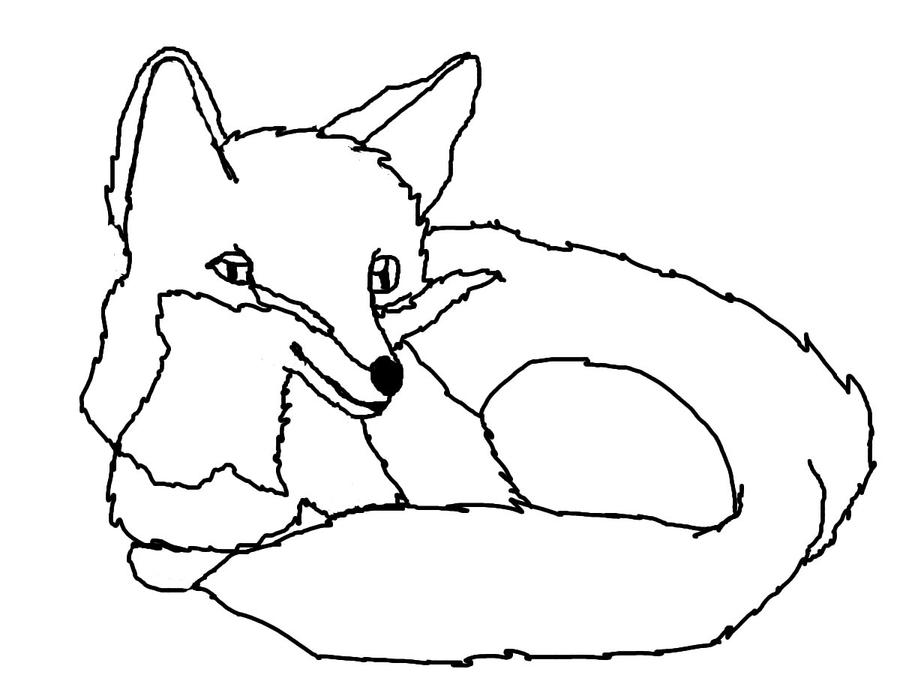 Line Drawing Gimp : Fox drawing outline