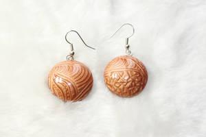 Handmade polymer clay earrings Copper waves by EvrazhkaStudio