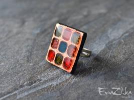 Handmade polymer clay ring Romantic by EvrazhkaStudio