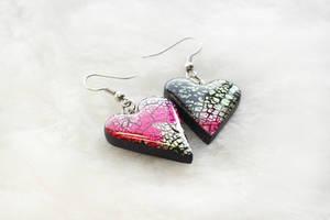 Handmade polymer clay earrings Hearts by EvrazhkaStudio