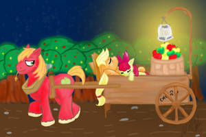 A long day of Apple Bucking by AubittheHobbit