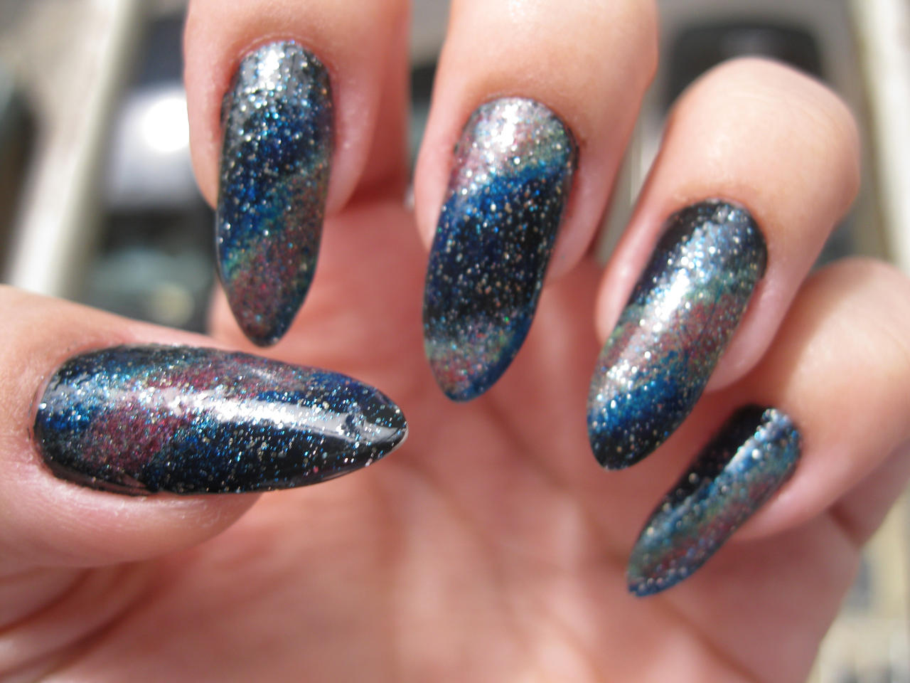 Galaxy Nail Art by kirarachan