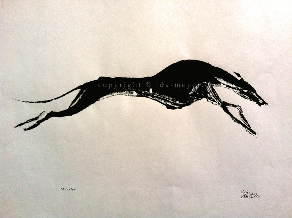Whippet Monotype by caligis