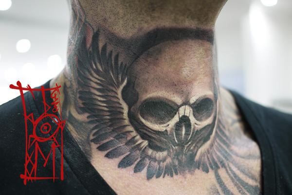 Skull neck tattoo by tomyslav on deviantart for Skull neck tattoos