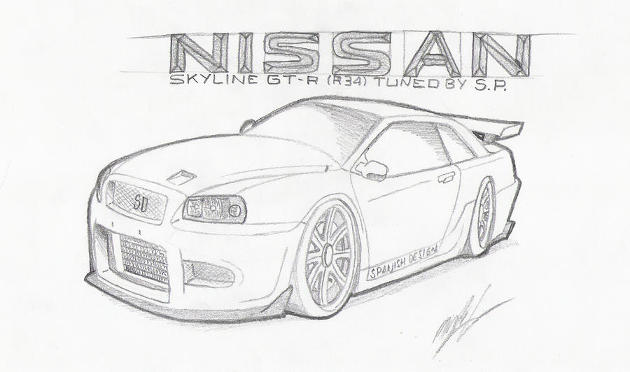 how do you draw a nissan skyline