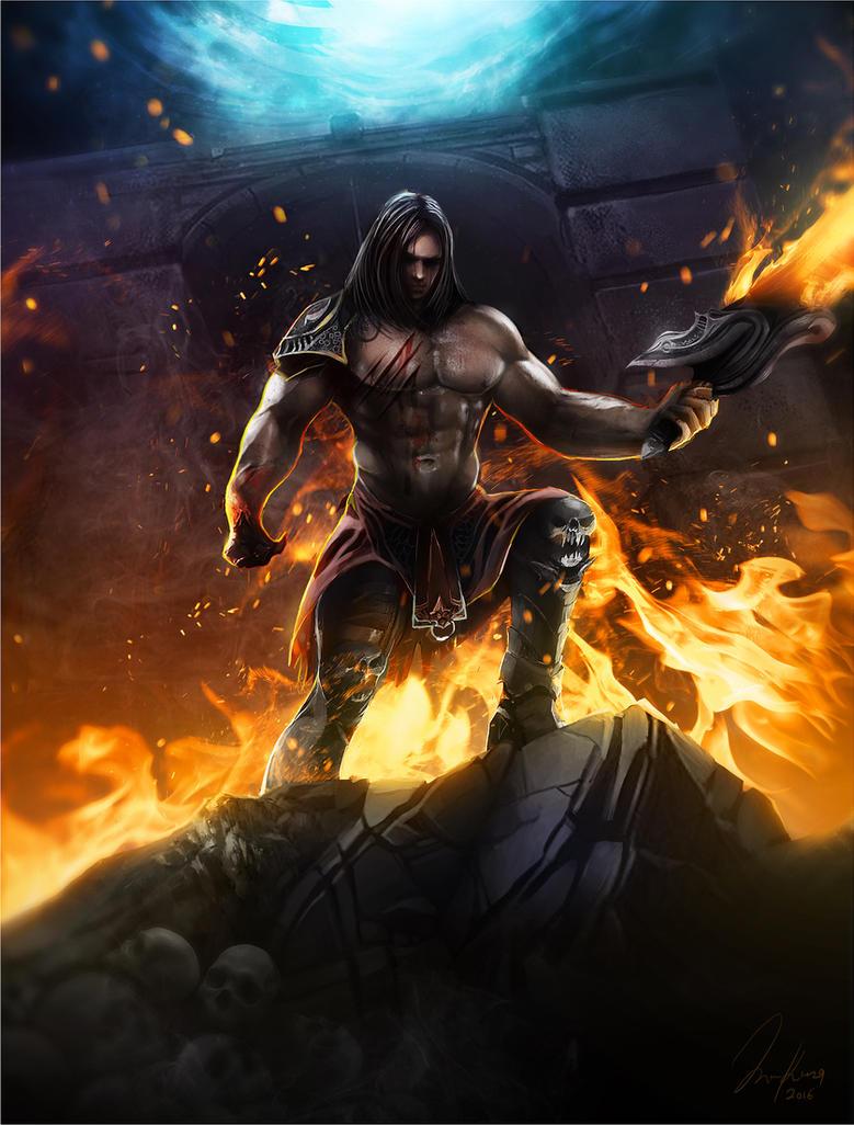 Warrior of flames by santerikivioja